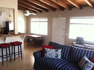 Living area ...very clean, vaulted ceilings and plenty of light