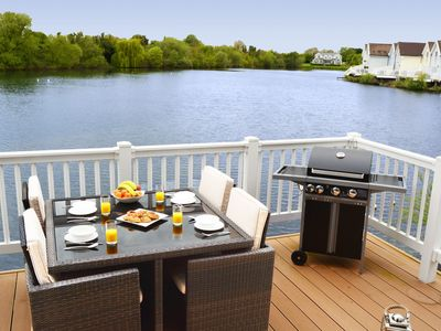 Photo for Pet-friendly lakeside house on Spring Lake in the Cotswold Water Park