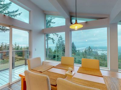 Photo for Hilltop home w/balcony, incredible ocean views & private hot tub