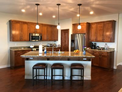 Open kitchen with large island for cooking and visiting