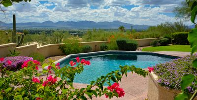 View of Tucson Mts overlooking the Pool... jacuzzi is to the left.