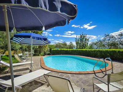 Photo for Apartment in charming stone house near Lucca, Tuscany. WIFI, View & Pool.