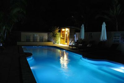 Gorgeous swimming pool area, with large heated spa, sauna, bbq & bar tab/chairs