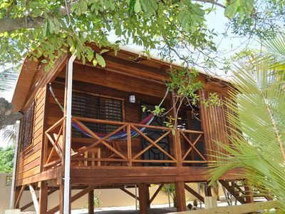 Photo for Baby Blue Cabana on Beachfront Lot, Enjoys Seaviews, Hopkins Belize