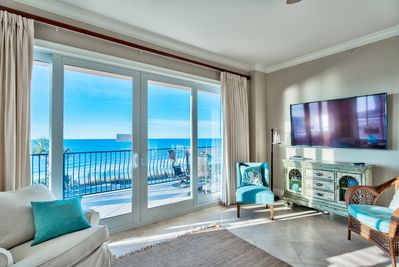 Adagio B201 - newly updated - Enjoy a light, bright corner view from this second floor gulf front condo in B building of Adagio. Large flat screen TV with plenty of comfortable seating - and a million dollar view of the Gulf of Mexico.