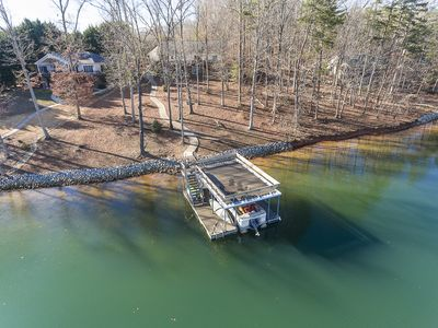 Photo for Dujardins waterfront lake Keowee home, with double dock on a deep, wide cove...