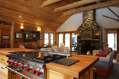 From Kitchen to Great Room and Glorious Fireplace - Huge Screened Porch  beyond