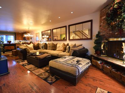 The comfortable living area with fireplace
