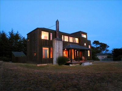 This Ocean View home has a Cozy Glow at Twilight