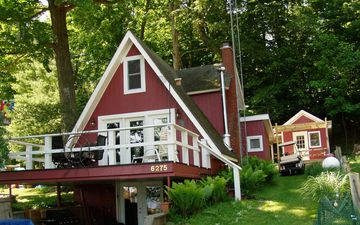 KP's Hamlin Lake Cottage - updated, classic A-frame with pleasant lake views