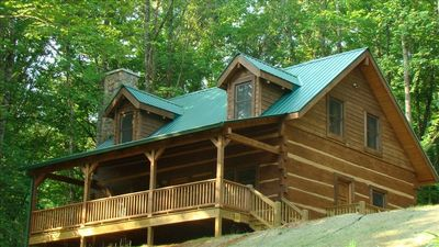 Photo for Luxurious Cabin on 13 Acres of Mountainside Close to Everything