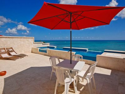Casa Coral luxury beachfront penthouse condo on Jade Bay, Akumal