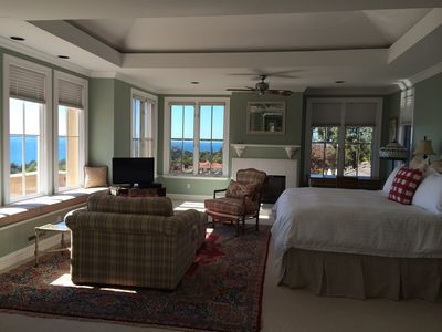 Master Bedroom Suite with full ocean/island view and fireplace