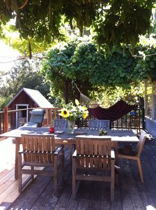 back deck great dining spot.  Relax in hammock in the shade of a grape arbor