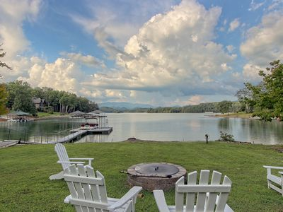 Photo for Stunning lakefront estate on one acre with private dock, WiFi, and more!
