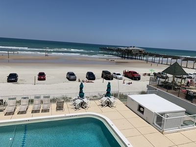 Photo for Oceanfront, ground floor, pet friendly, pool, 15 seconds to beach