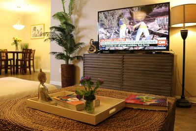Large screen TV with cable, Netflix, Hulu, Amazon and more
