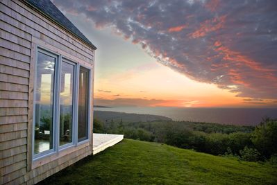 Gorgeous sunset with elevated views of the ocean and SeaWolf island
