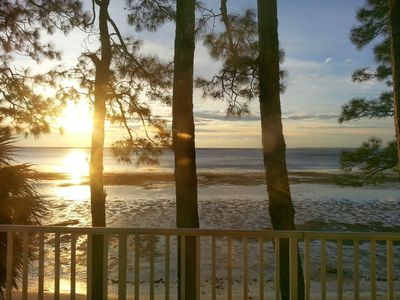 View from first floor balcony. Sunrise on a low Winter tide.