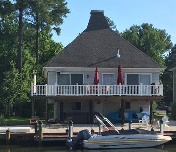 Photo for Romantic Waterfront*HotTub*2 SUPs*2 ppl Kayak*gas & wood firepits*pellet stove*