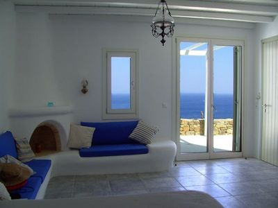 Photo for Beachfront villa,stunning beach, seaview.. Eco-friendly. Mykonos