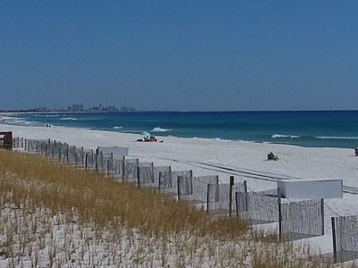 Clear blue skies offer a view all the way to miramar beach.
