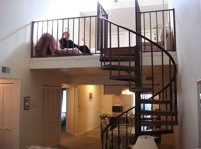 Spiral Stairs lead to the loft.