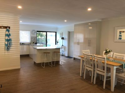 The casual kitchen and dining ares with that beach side feel.