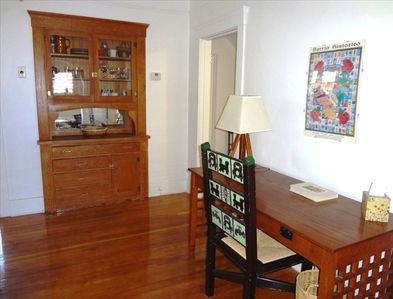 Nice desk, built-in China cabinet, newly refinished hard-wood floors.