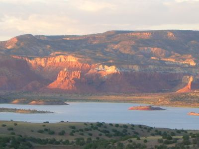 North view: Abiquiu Lake, Ghost Ranch at sunset.