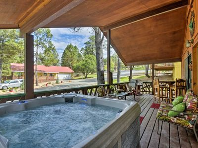 Photo for NEW! Ruidoso Cabin w/ Hot Tub & Golf Course Views!