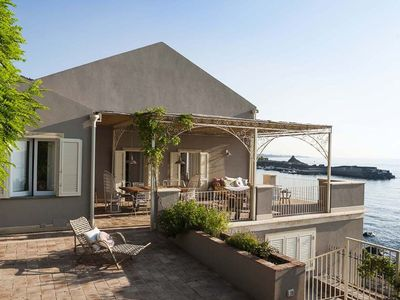 Photo for Beautiful seafront house with a panoramic terrace just a few miles from Acireale