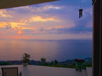 Infinity ocean and sunset view from lanai.