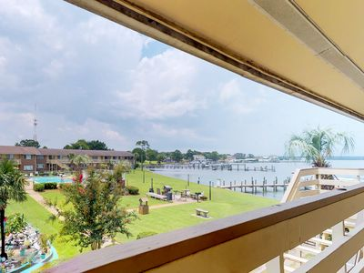 Photo for NEW LISTING! Cozy waterfront condo with panoramic sound views and shared pool