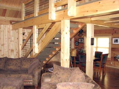"Photo for ""Chateau Catrina "" New Log Home Overlooking Sullivan Creek"