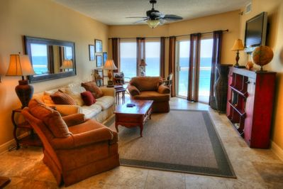 The living room with its magnificent view!