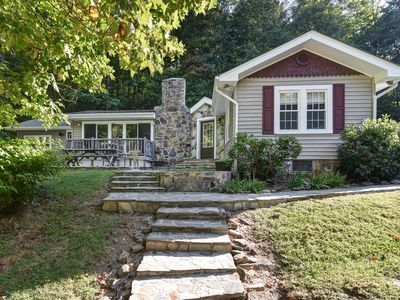 Photo for 2 Gorgeous mountain homes surrounded by forest, babbling creek, just off Parkway