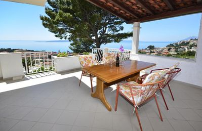 Photo for One bedroom apartment with terrace and sea view Baška Voda, Makarska (A-12442-a)