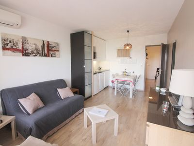 Photo for Juan les pins: Studio Furnished cabin pool Sea view