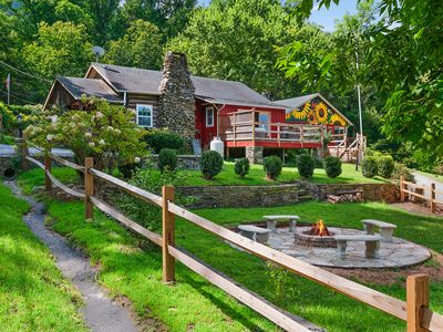 Photo for 2 Great Cabins, 1 Low Price! Close to Town, Mountain Views, HotTub WiFi Fire Pit