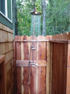 Hot Outdoor Shower- just installed on side of Casita