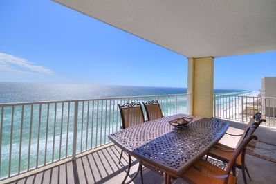 Huge balcony offers stunning views of the Gulf and the coastline.