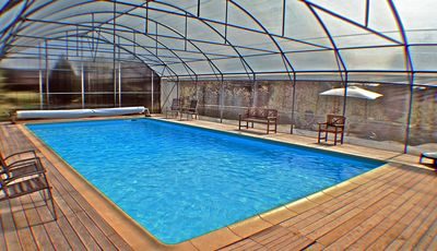 12x6m heated pool open from end of March to end of October. Closed in Winter