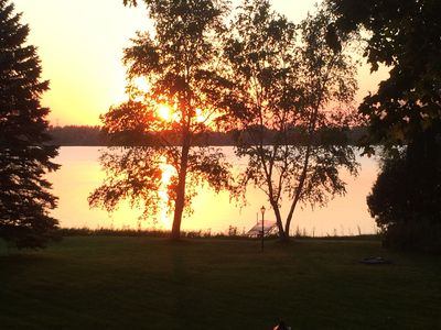 Serenity at the end of a fun filled day with the sun setting & fire pit blazing