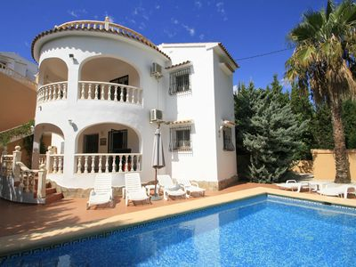 Photo for Luxury villa near Moraira with private pool-quiet, 1km from the beach