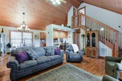 The beautiful two-story living area will make you feel right at home.
