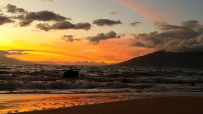 Sunset over the ocean at Kamaole Beach -a 3 minute walk from our condo