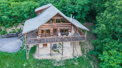 Photo for Private Smoky Mtn Log Cabin with Great Mountain View! Hot Tub! Pool Table, WiFi