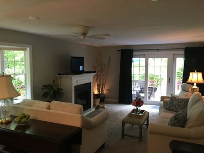 comfortable living room with cable TV