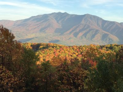 FALL Balcony VIEWS-top balcony of the cabin- beautiful Mt. LeConte